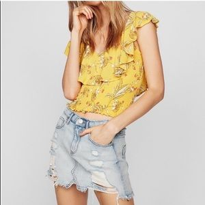 Yellow floral smock neck top